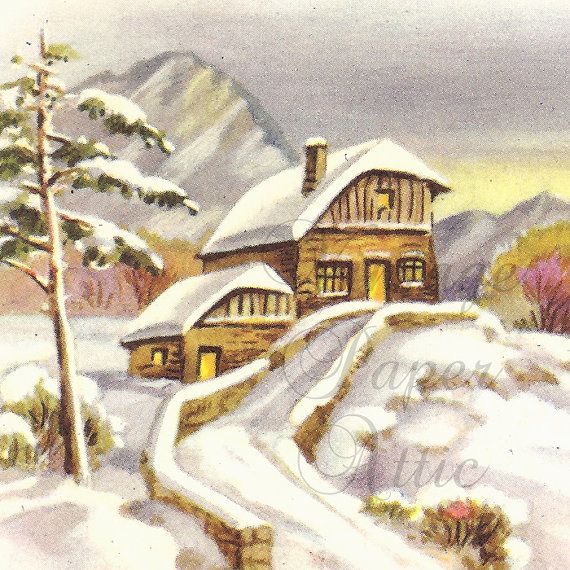 Vintage French Christmas Postcard Mountain by VintagePaperAttic