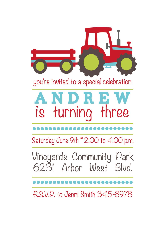 Tractor Train Birthday Invitation Personalized And Printable 5x7 1100 Via Etsy