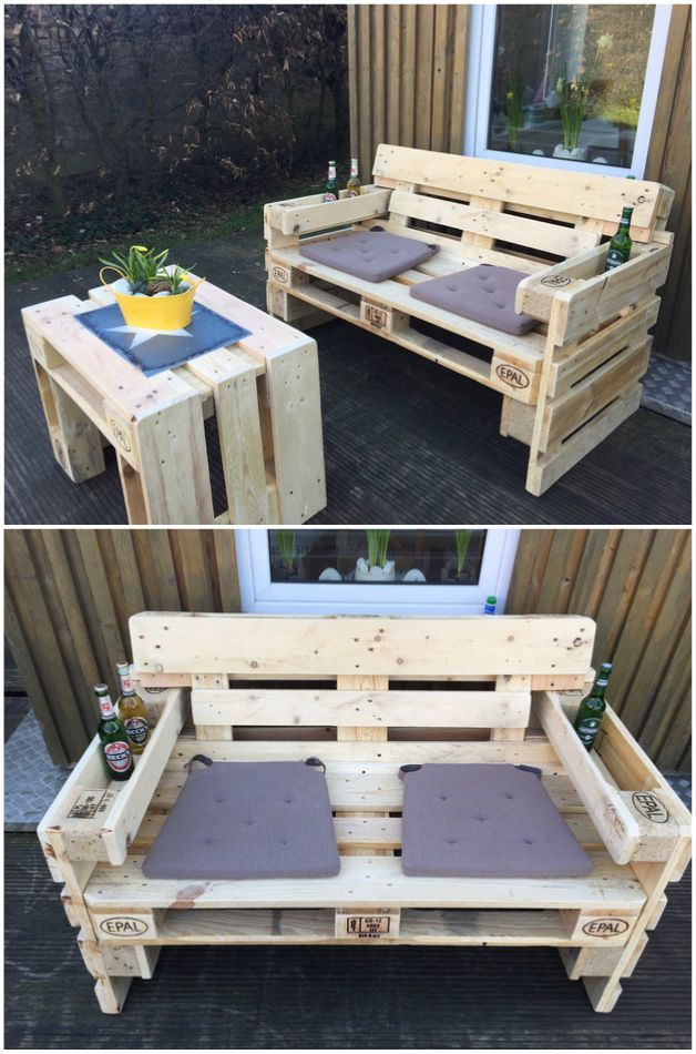 gartensofa aus paletten pallets pallet projects and pallet furniture. Black Bedroom Furniture Sets. Home Design Ideas