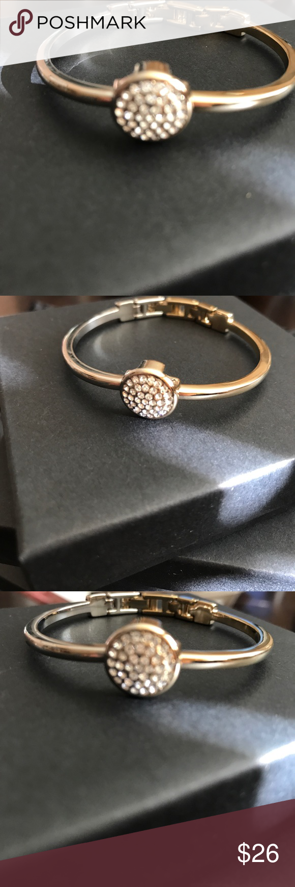 """Vintage Anne Klein lion head signed cuff bracelet Beautiful vintage piece!! 1/2 gold plated and 1/2 silver plated, round crystal covered medallion, vintage fold over safety clasp. Cuff is 7 1/4"""" and medallion is 1/2"""" in diameter. Excellent condition. Anne Klein Jewelry Bracelets"""