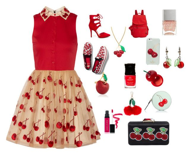 """""""Cherry top"""" by djstormi ❤ liked on Polyvore featuring Alice + Olivia, Erickson Beamon, Kate Spade, Kipling, Tony Moly, Accessorize, KOTUR, Keds, Laura Geller and Nails Inc."""