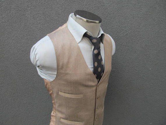 Vintage Reversible 1940's Plaid Brown Beige Wool Vest Mens Suit Vest Waistcoat Mens vest waistcoat / Size 40 / Medium / M 3G3aFajR