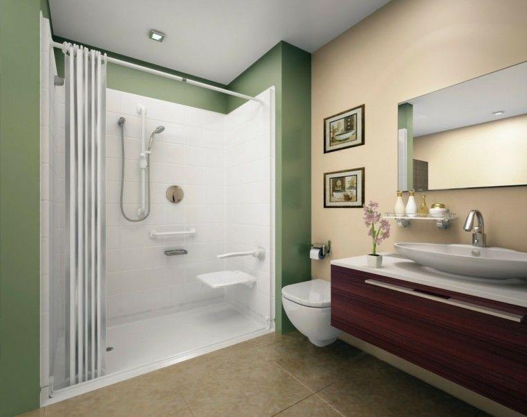 Dise o de ba os modernos con pared verde ideas para el - Paredes de banos modernos ...