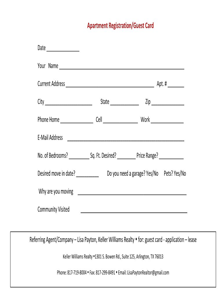 Apartment Guest Card Fill Out And Sign Printable Pdf Template Signnow Pertaining To Get Out Of Jai Card Templates Free Birthday Cards For Mom Card Template