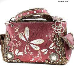Burgundy Dragonfly Embroidered Handbag Purse