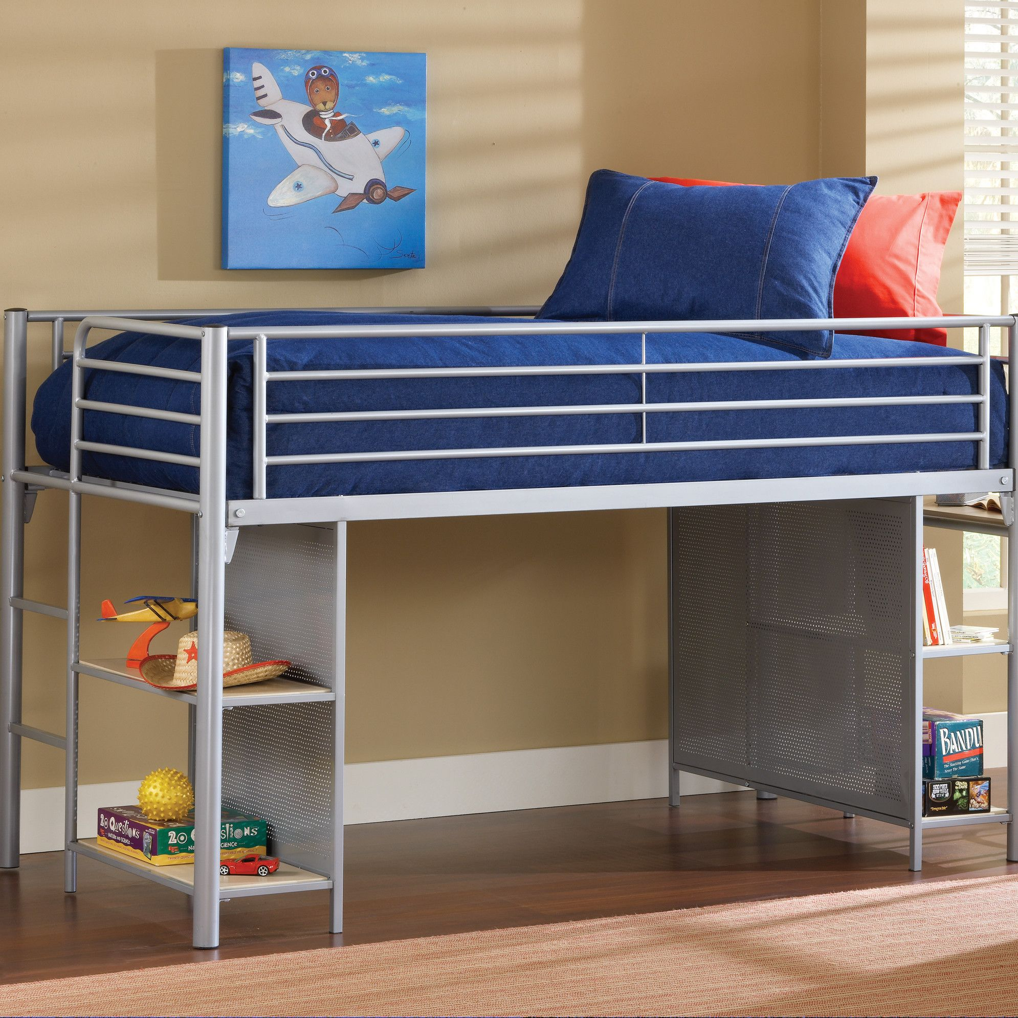 Twin low loft bed with slide  Universal Junior Twin Low Loft Bed with Desk and BuiltIn Ladder