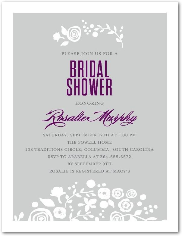 Frosted Fancy Studio Basics Bridal Shower Invitations in Fog – Wedding Paper Divas Bridal Shower Invitations