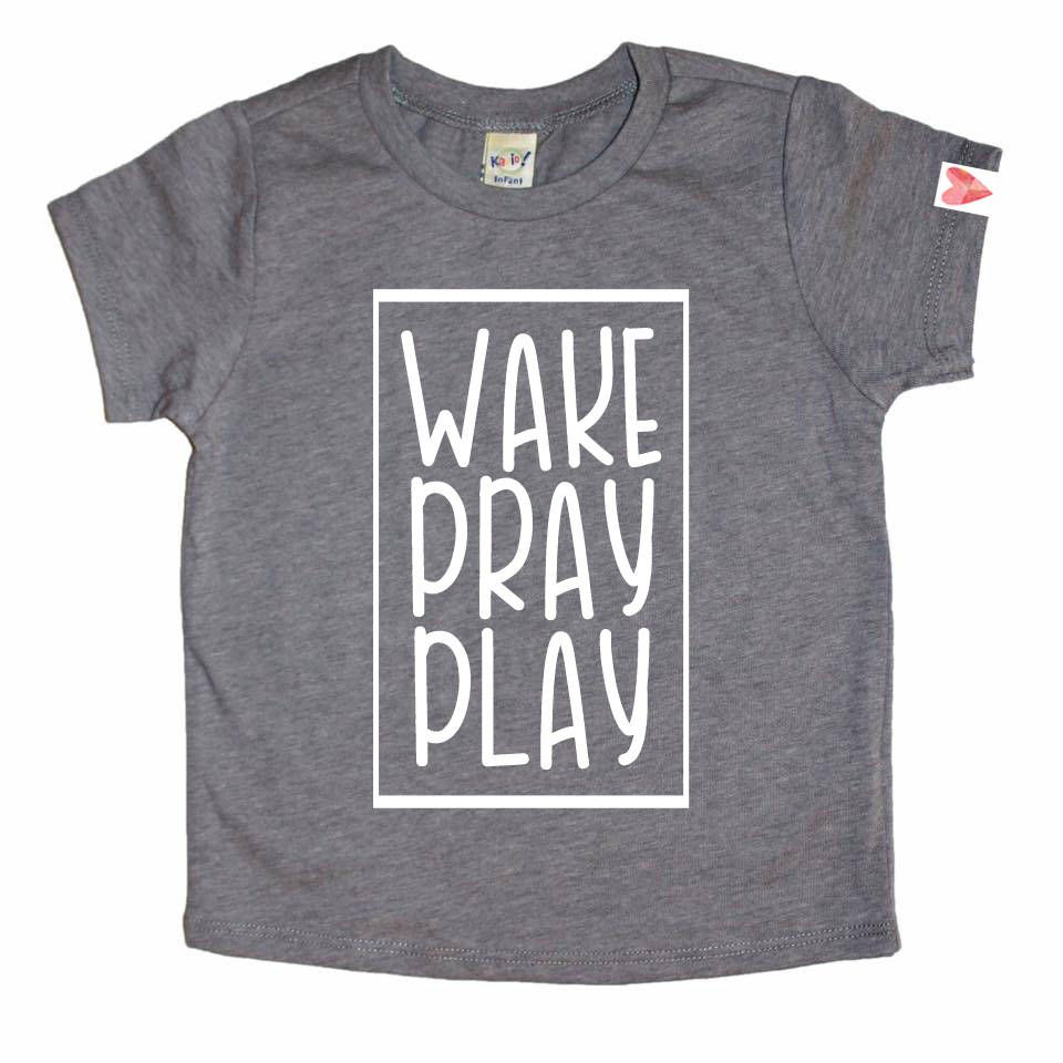 0bb676be9d3 Kids Christian Shirt, Christian Shirt, Kids Faith Shirt, Cute Kids Shirt,  Christian Clothing, Jesus Shirt, Unisex Kids Shirt, Wake Pray Play by ...
