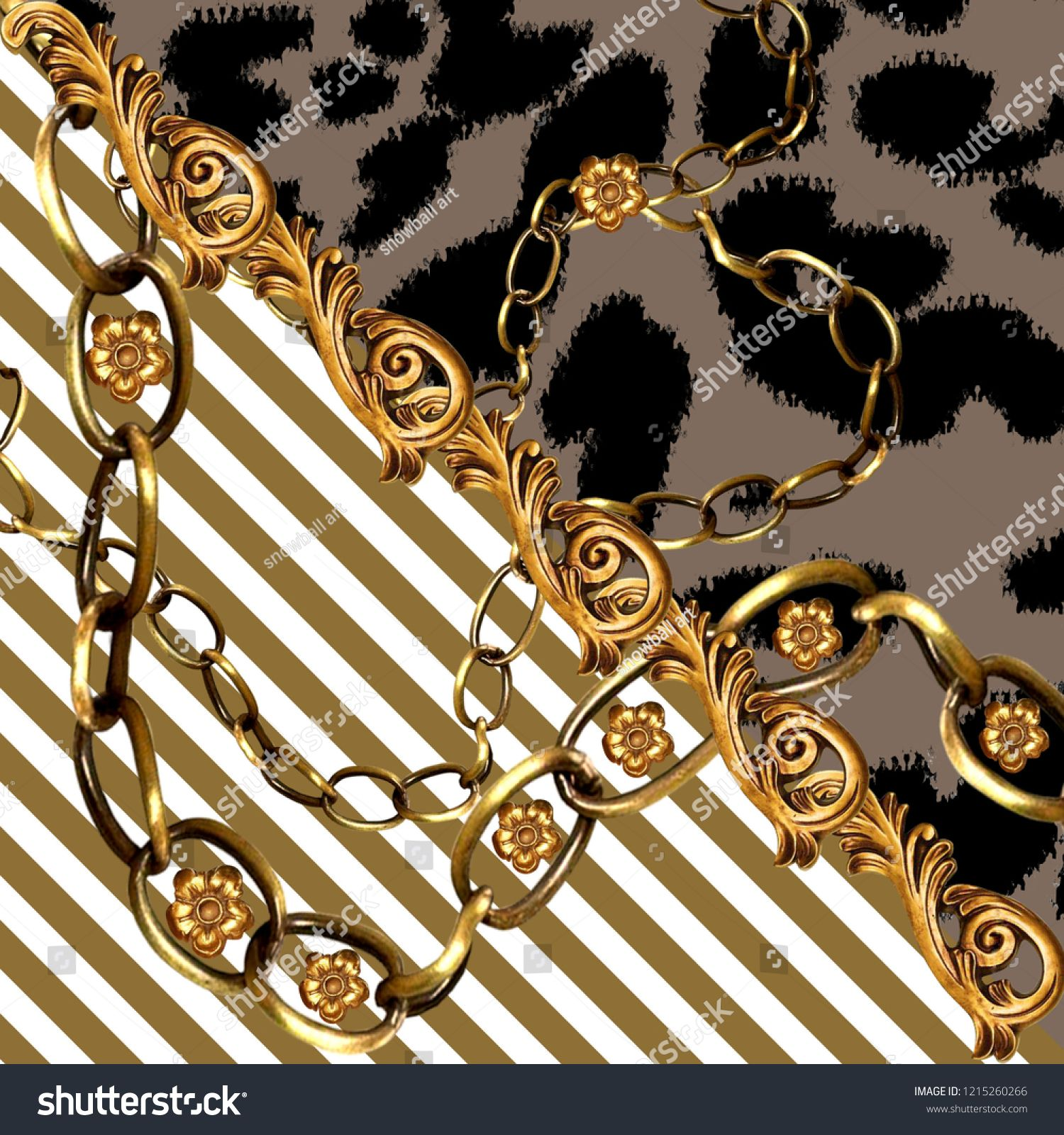 leopard skin and golden chain background, scarf pattern