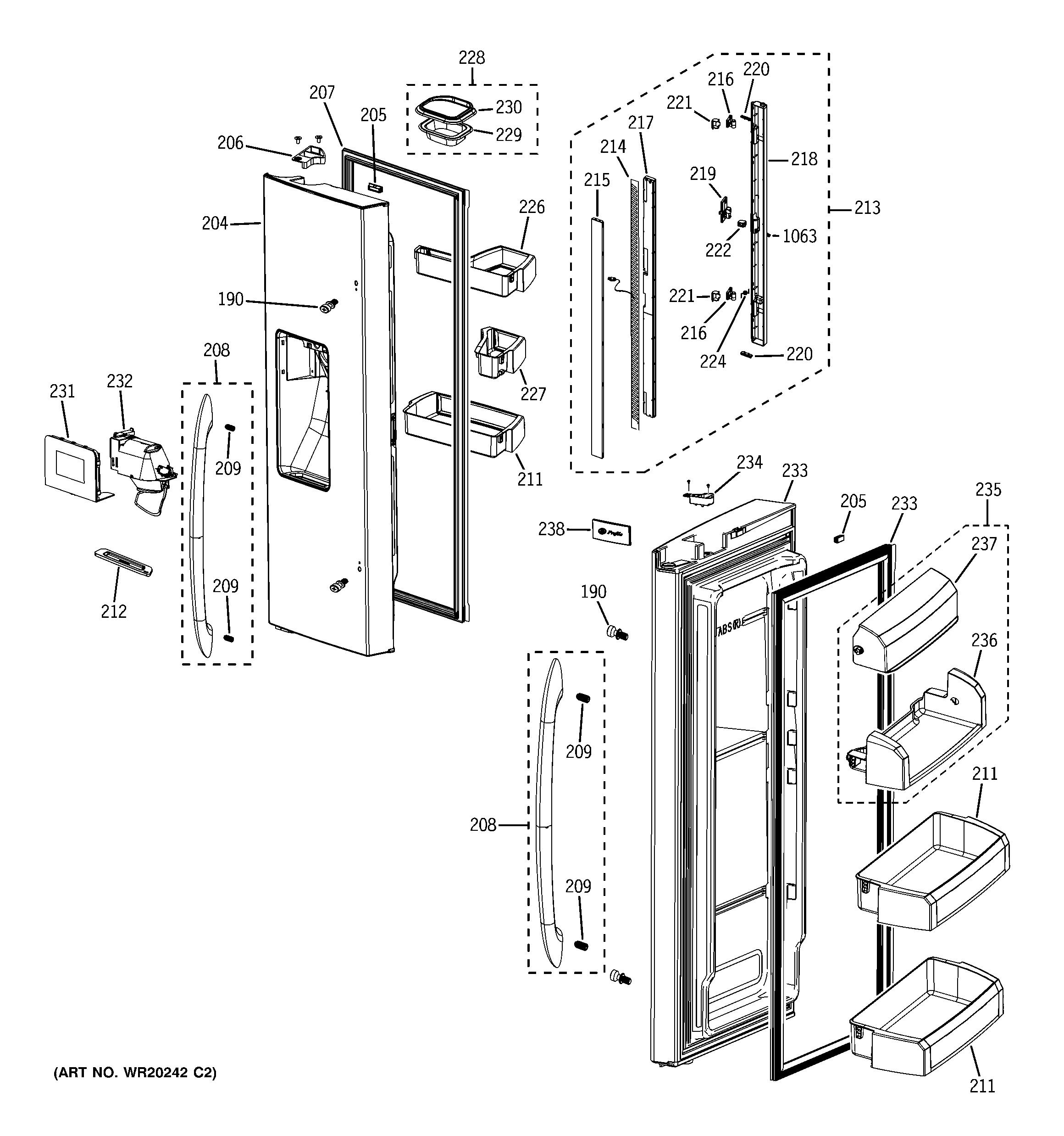 FRESH FOOD DOORS Diagram & Parts List for Model pfss6pkxdss ... on