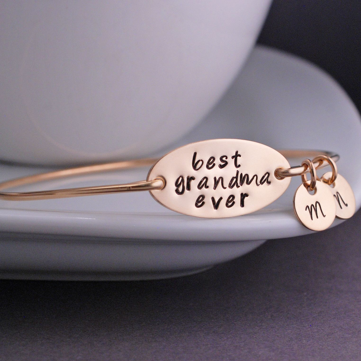Best Grandma Ever - Gold Bangle Bracelet, Personalized Christmas Gift for Grandma from georgie designs personalized jewelry