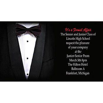 The Tuxedo Horizontal Invitation features a black tie and tuxedo - prom invitation templates