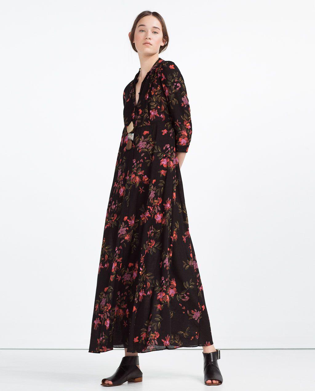Vestido largo zara estampado japones