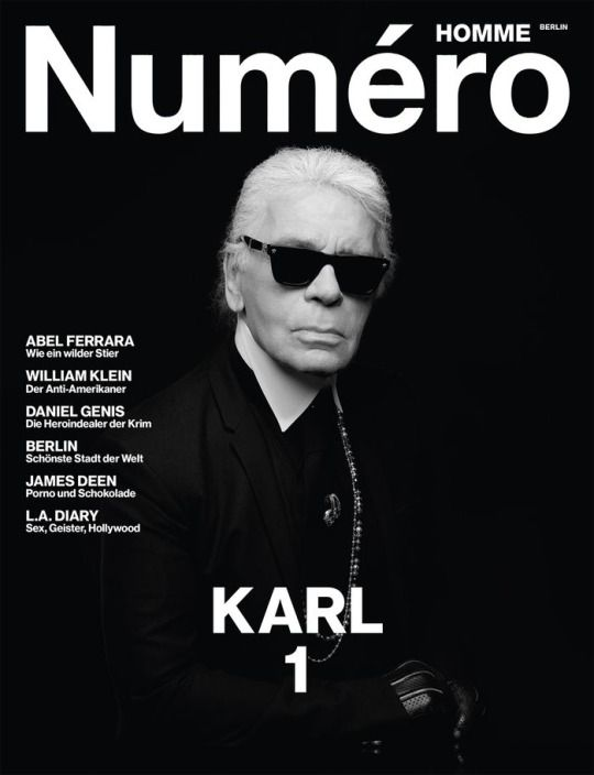 Karl Lagerfeld for Numero Homme Berlin Inaugural Issue Cover