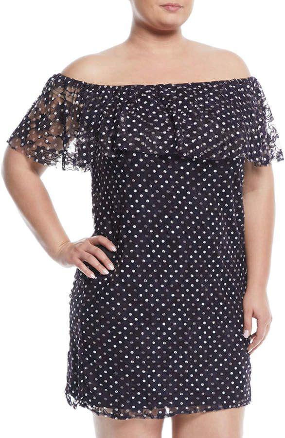 Neiman Marcus Off-The-Shoulder Polka Dot Lace Dress, Plus ...