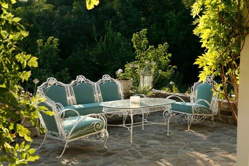 Muted Turquoise Upholstered Vintage White Metal Patio Furniture | Patio  Color Palette Concept