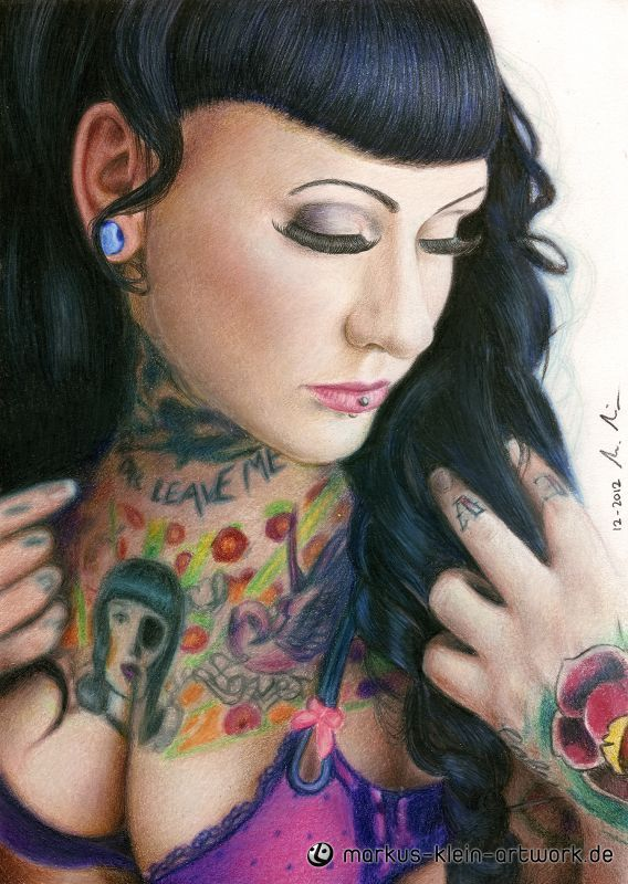 Markus Klein myriam m colored pencil drawing a4 8 x 12 inches http