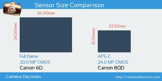 Canon 6D vs Canon 80D Sensor Size Comparison   Canon Dream