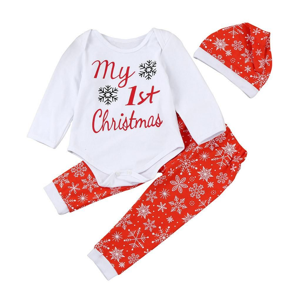 bca45ac6f6b8 My First Christmas 3PC Holiday Outfit Red and White Snowflakes Matching Cap.  My first Christmas Newborn Infant Baby Boy Girl Letter Romper Tops Pants Hat  ...