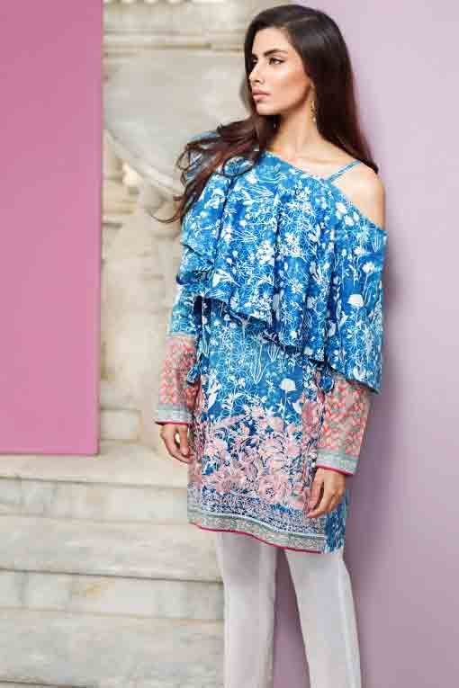 92ebe0d5010d19 new khaadi off shoulder blue and white floral short shirt new summer lawn  dresses 2017 for Pakistani girls