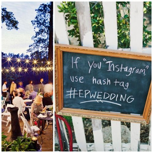 Your own hashtag for Instagram to see all the pictures taken at your wedding!! Such a good idea!!