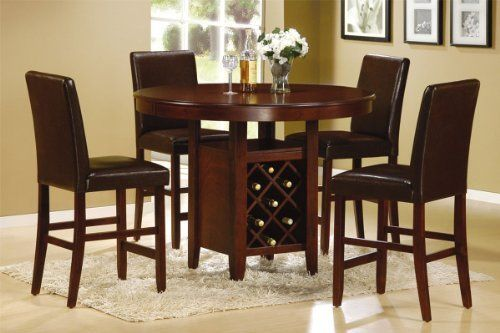5 Pieces Counter Height Round Dining Set With Wine Storage By Hollywood Decor 675 00 This Ite Counter Height Dining Table Dining Room Sets High Dining Table