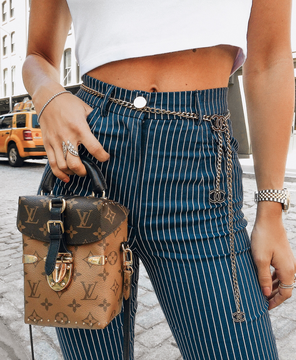 fc7be14880ac Pinstripe Pants - Chanel Belt - Chanel Chain Belt - Vintage Chanel - Louis  Vuitton Reverse Monogram Camera Box Bag - Louis Vuitton Camera Box Bag -  NYC ...