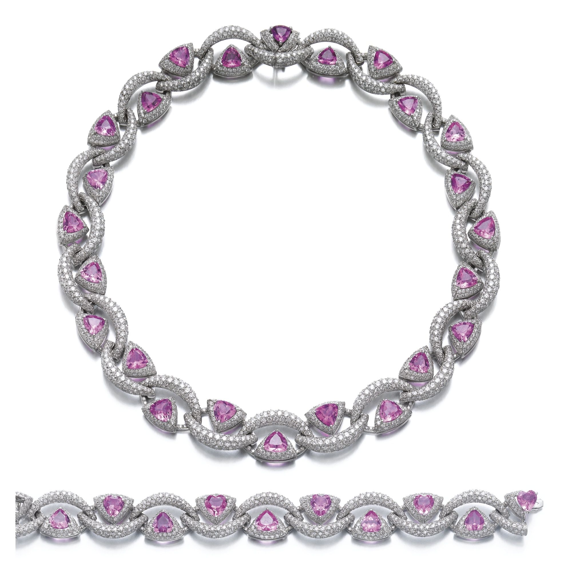 web oval bracelet nsc white sapphire ct certification pink gold