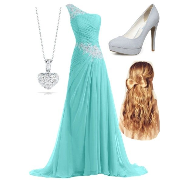 "#RobertoCoin #TinyTreasures #DiamondHeartNecklace from #JRDunn in ""Grad or prom #2"" by ash15clark on Polyvore"