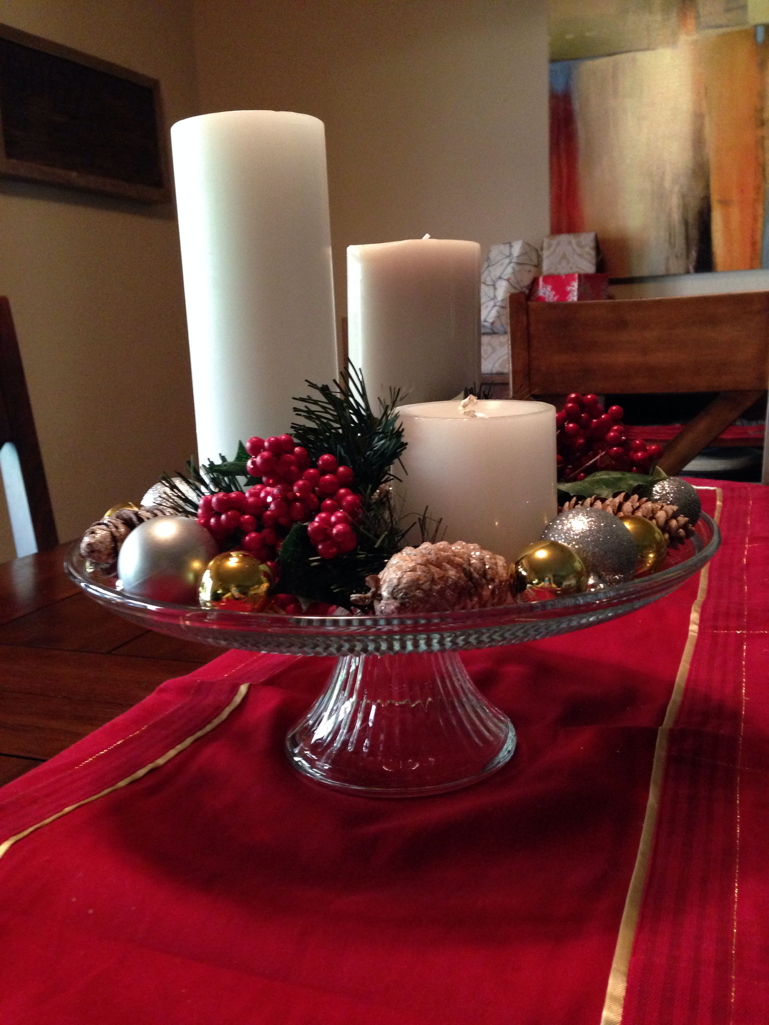 Christmas Centerpiece Using Cake Stand Christmas Cake Stand
