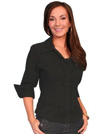Scully Women's Black V-Neck 3/4 Sleeves with soutache trim, princess seams made from Peruvian cotton