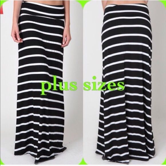 sale Plus Size maxi skirts Striped maxi skirt with foldable waistband. Price is firm. Skirts Maxi
