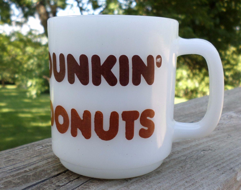 1970s GlasBake White Dunkin' Donuts Coffee Cocoa Milk