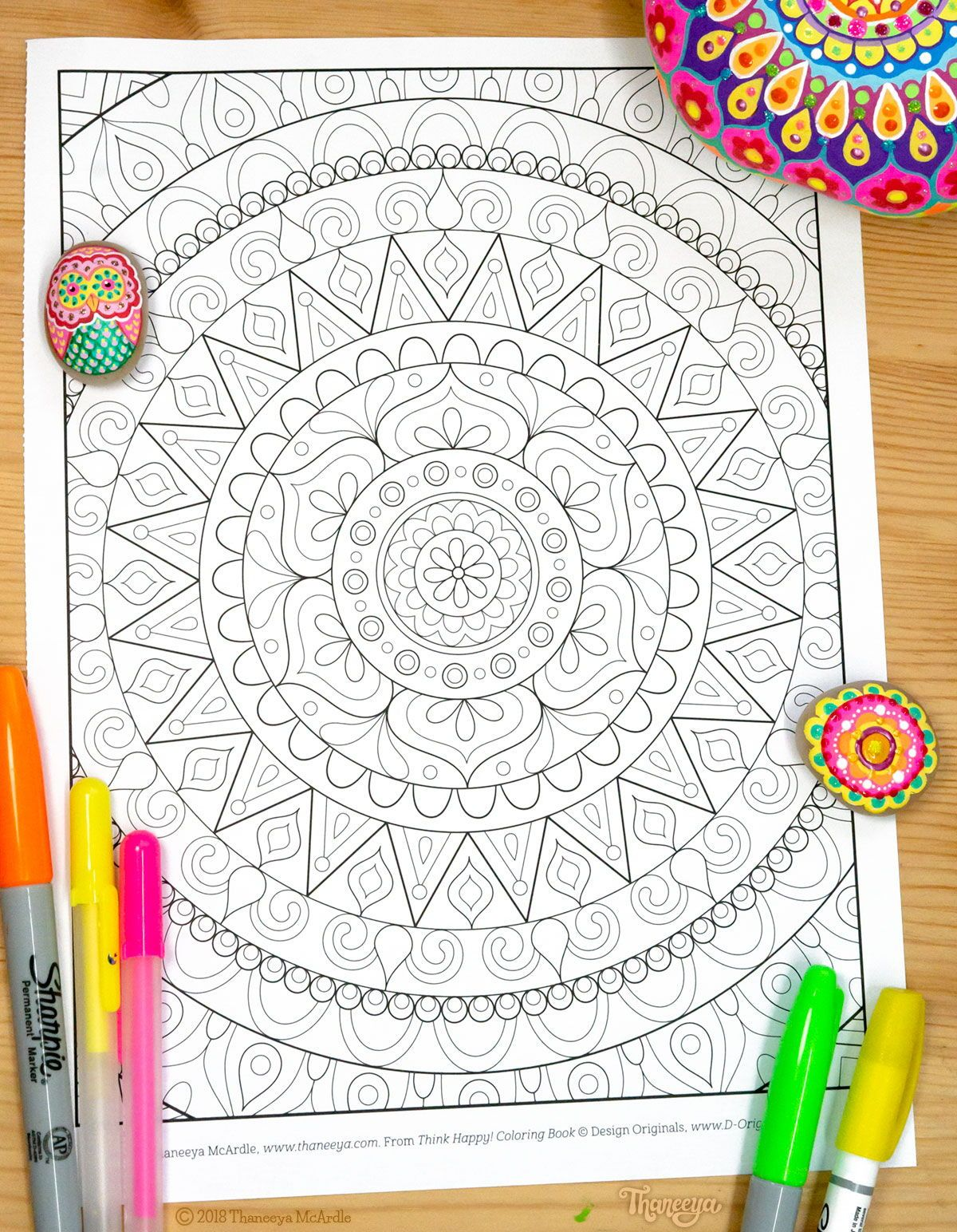 Mandala Coloring Page From Thaneeya Mcardle S Think Happy Coloring Book Coloring Books Mandala Coloring Pages Coloring Pages