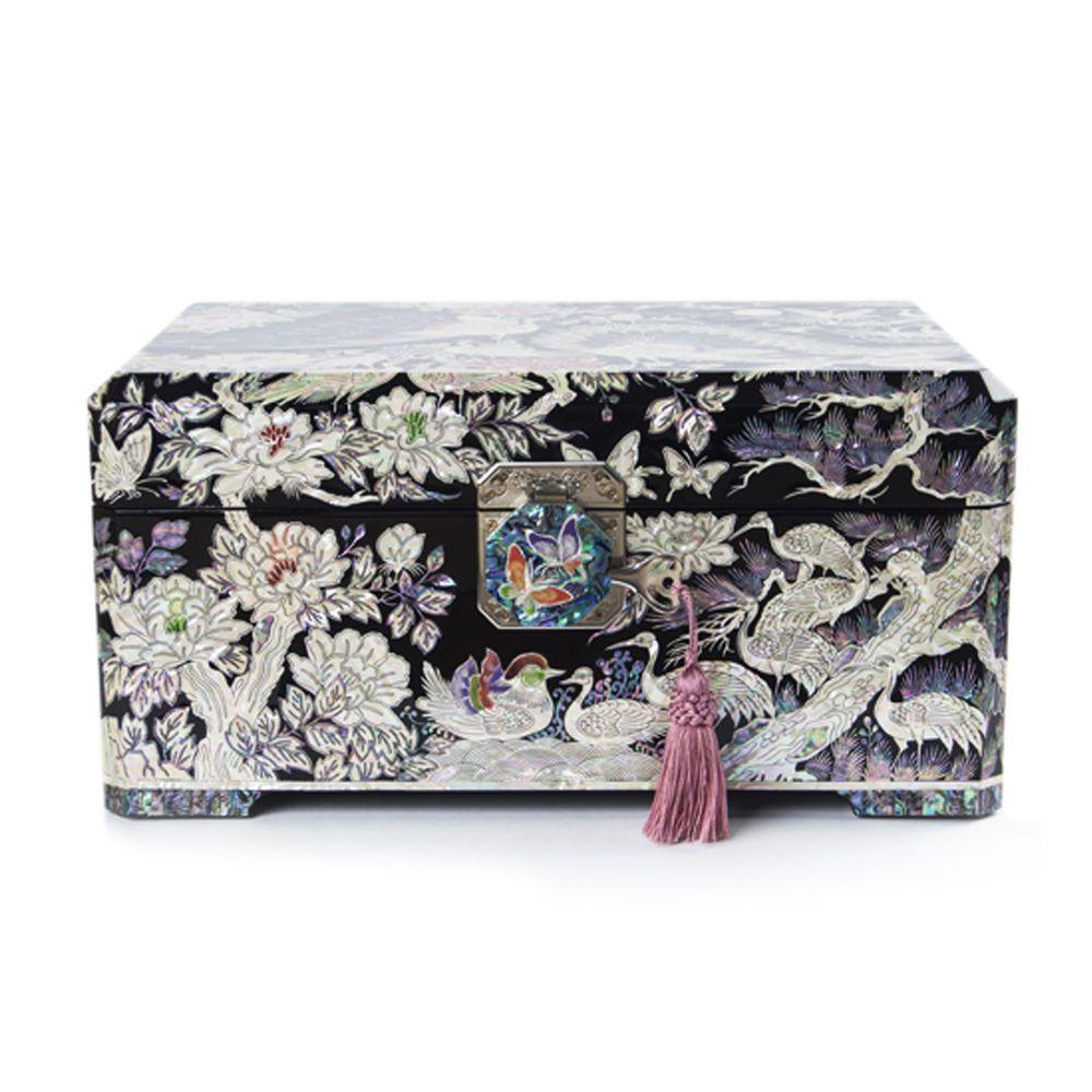Luxury Antique Korean motherofpearl jewelry box armoire organizer