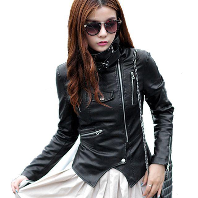 33a09334467d7 Leather jacket women jaqueta de couro chaqueta cuero 2015 veste en cuir  femme mujer jackets deri ceket blouson simili Motorcycle