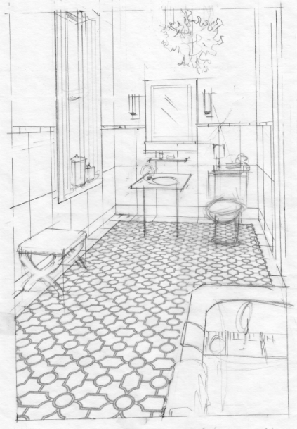 Rough Bathroom Sketch | Interior design sketches, Drawing ...