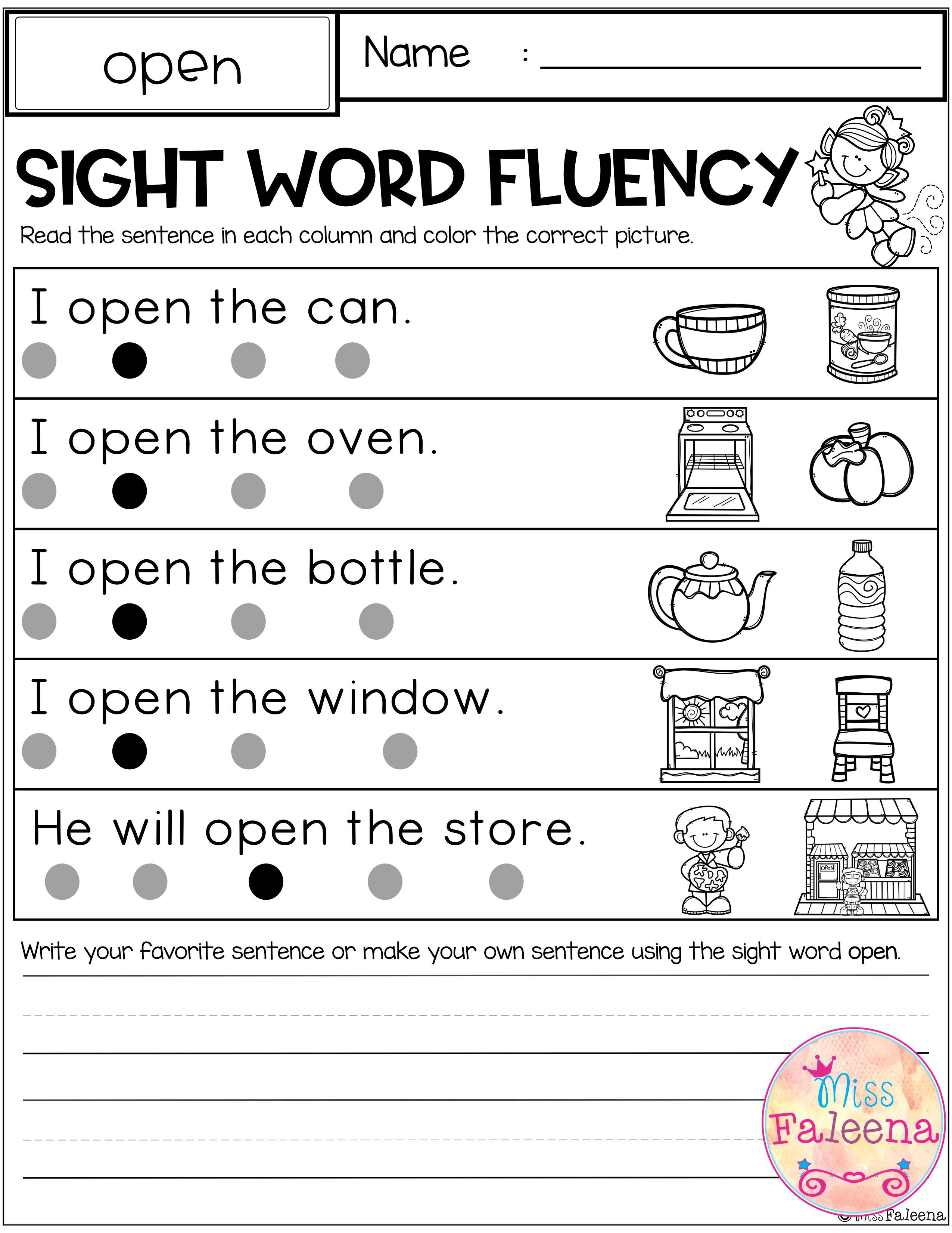 Sight Word Fluency First Grade