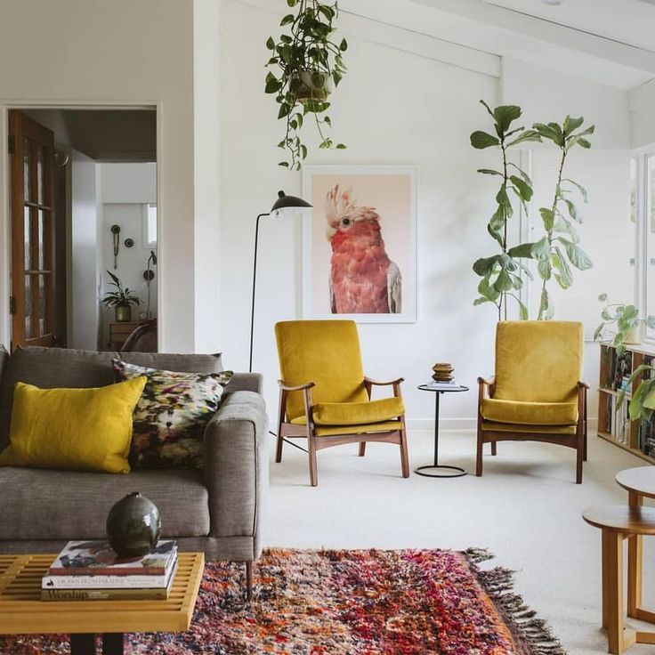 Love These Pops Of Mustard Yellow House Interior Mid Century Modern Living Room Living Decor