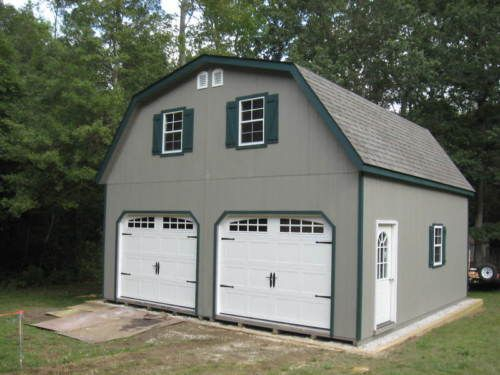 details about amish 20x20 double wide garage gambrel roof structure rh pinterest com