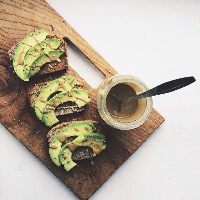 Avocado toast with tahini and chili oil from @siobhano_: http://instagram.com/p/k9u36GiIQ4/ #Food52 #f52grams