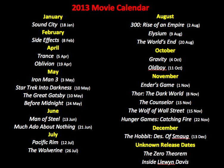 The Hollywood Movie Calendar 2013 Shows A List Of All Movies Lined Up For Release In 2013 Some Have Already Been Released Others Movie Lines All Movies Movies