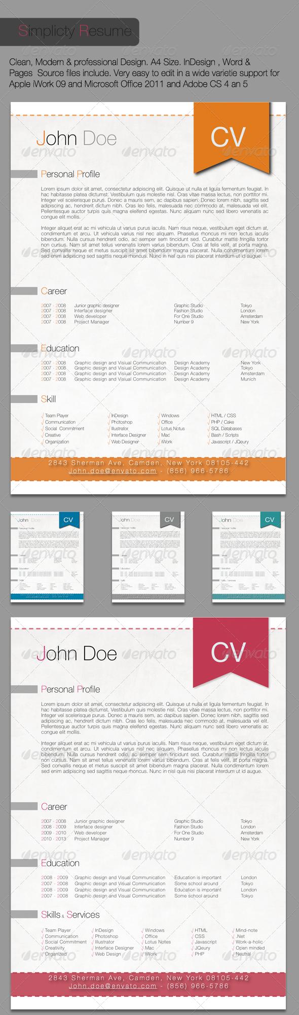 Simplicity Resume | Gráficos, Oficinas y Adobe indesign