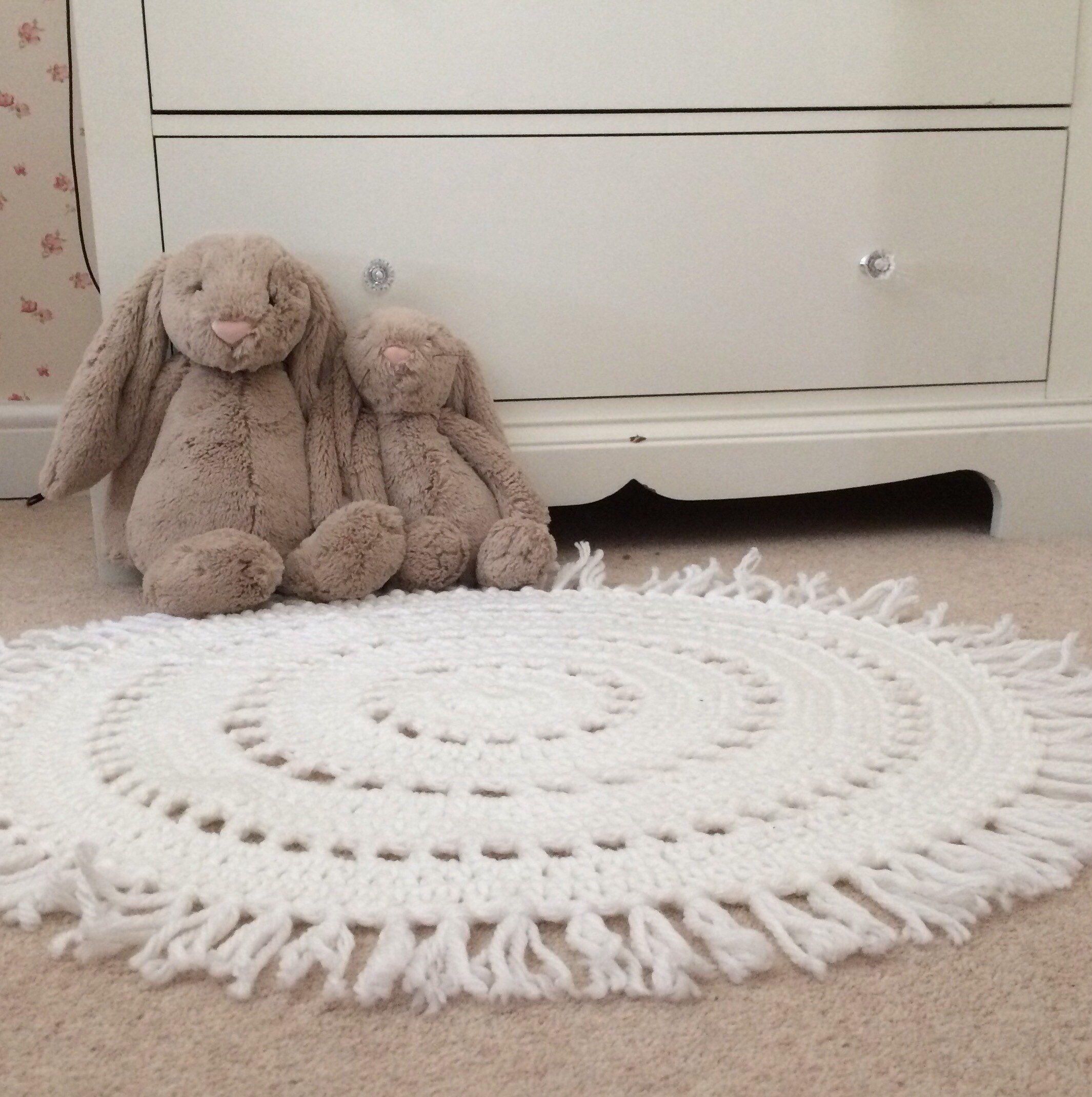Nursery Playmat Crochet Rug Fringe Rug Kids Rugs Fringe Rugs Crochet Rug