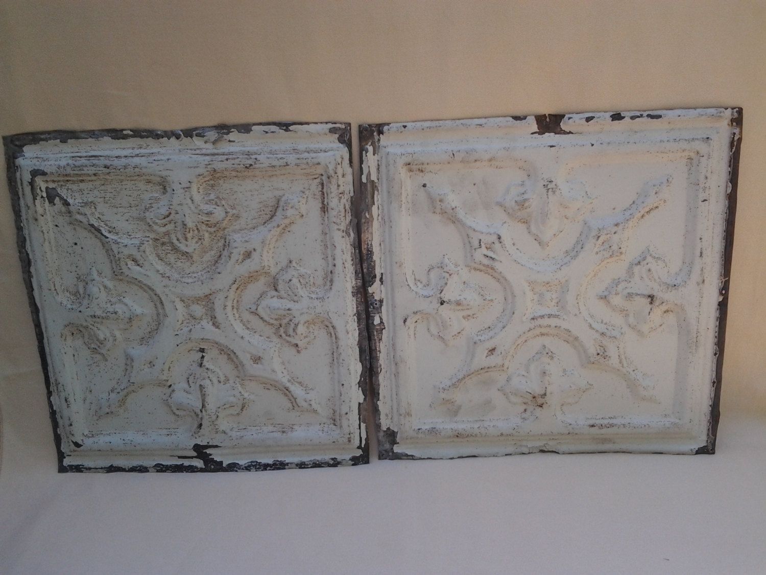 Antique farmhouse ceiling tiles 1920s reclaimed tin painted antique farmhouse ceiling tiles 1920s reclaimed tin painted tiles fleur de dailygadgetfo Image collections