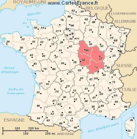 Map of Bourgogne France Eastern part of France known for their