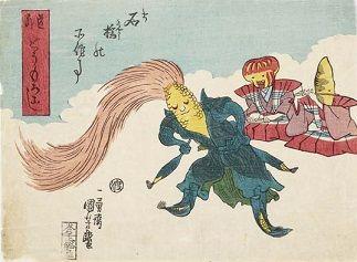 歌川国芳「道外 とうもろこし 石橋の所作事」