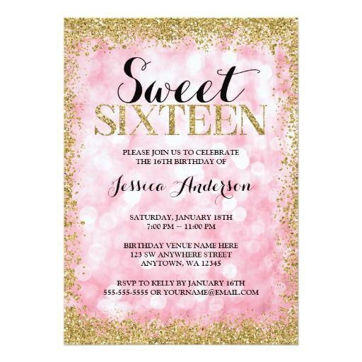 Pink Gold Faux Glitter Lights Sweet 16 Birthday Invitation Sweet