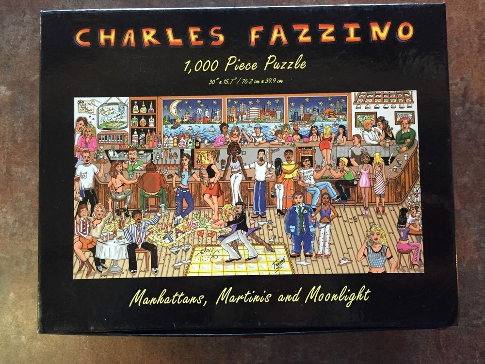 MARTINIS AND MOONLIGHT 3D POP ART CHARLES FAZZINO JIGSAW PUZZLE MANHATTANS