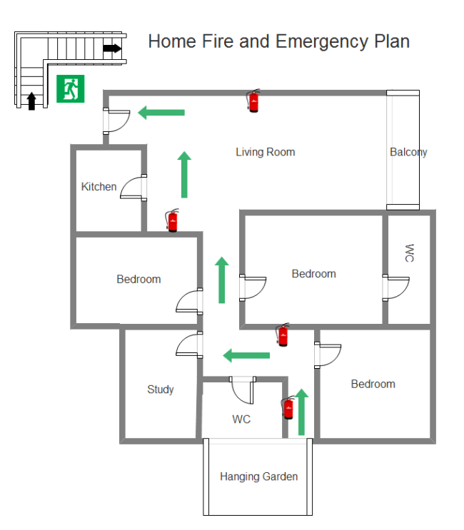use the ideal tool to make the perfect home emergency evacuation diagram effortlessly learn. Black Bedroom Furniture Sets. Home Design Ideas